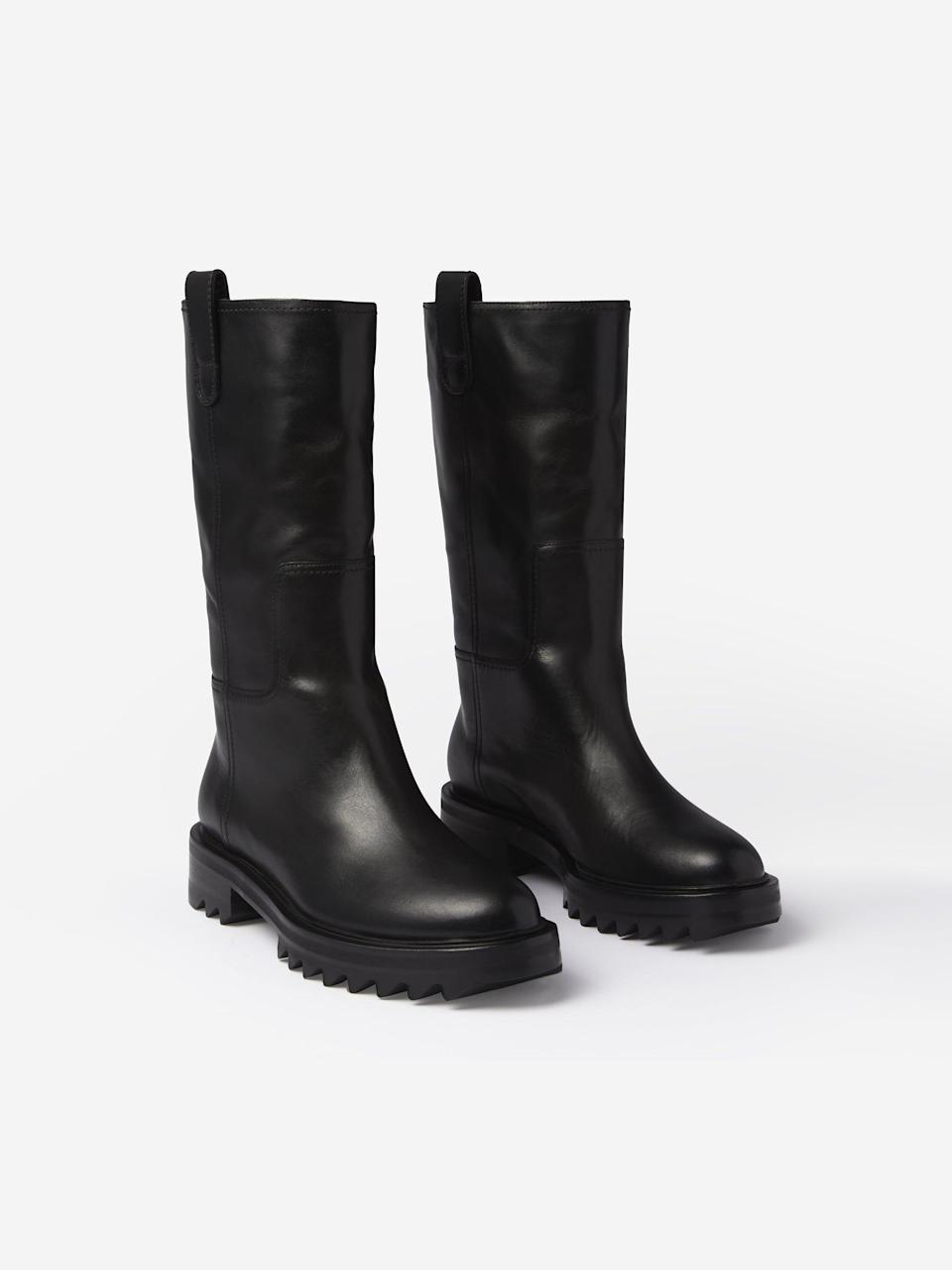 <p>These <span>Tamara Mellon Easy Rider Mid Calf Boots</span> ($795) are cute and practical. We love the height too; they're not a full knee high and also not an ankle bootie.</p>