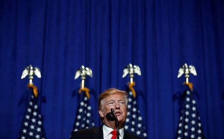 FILE PHOTO: U.S. President Donald Trump speaks at the National Association of Realtors' Legislative Meetings & Trade Expo in Washington, U.S., May 17, 2019. REUTERS/Carlos Barria/File Photo