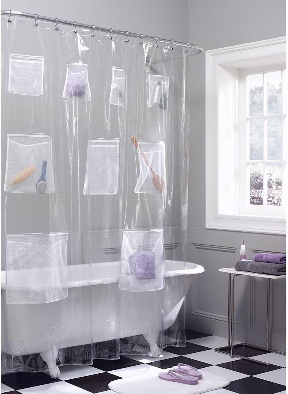 """Made with built-in mesh pockets, this shower curtain liner is perfect for anyone whose shower has too many shampoos trying to live in one habitat. Gone are the days of that supersized conditioner falling on your foot.<br /><br /><strong>Promising review:</strong>""""We are apartment living, so no one in the household could take a shower without crash/boom as you're knocking something down sitting on a shelf or the bathtub rim. This is a game-changer. There are so many pockets with so much room in each I actually have space left over.<strong>My husband's back scrubber, my shampoo and hair care, my daughter's bubble baths, bath floofies, all fit with room to spare.</strong>And the pockets are all a nice height so I'm not crouching to find anything. The curtain is clear so I didn't have to change the 'pretty' one for decorative purposes. I am super pleased."""" —<a href=""""https://www.amazon.com/dp/B003ZHVDAG?tag=huffpost-bfsyndication-20&ascsubtag=5834502%2C12%2C46%2Cd%2C0%2C0%2C0%2C962%3A1%3B901%3A2%3B900%3A2%3B974%3A3%3B975%3A2%3B982%3A2%2C16267132%2C0"""" target=""""_blank"""" rel=""""noopener noreferrer"""">goodnite.graci<br /></a><br /><strong>Get it from Amazon for<a href=""""https://www.amazon.com/dp/B003ZHVDAG?tag=huffpost-bfsyndication-20&ascsubtag=5834502%2C12%2C46%2Cd%2C0%2C0%2C0%2C962%3A1%3B901%3A2%3B900%3A2%3B974%3A3%3B975%3A2%3B982%3A2%2C16267132%2C0"""" target=""""_blank"""" rel=""""noopener noreferrer"""">$18.67</a>.</strong>"""