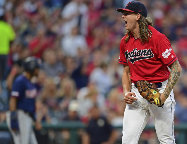 Cleveland Indians starting pitcher Mike Clevinger reacts after striking out Minnesota Twins' Byron Buxton in the fifth inning of a baseball game, Friday, July 12, 2019, in Cleveland. (AP Photo/David Dermer)
