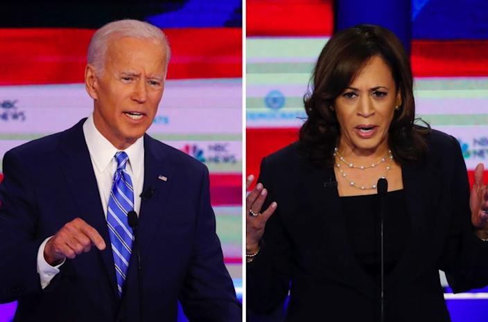 "Joe Biden expressed surprise after Kamala Harris aggressively attacked him in the first Democratic debate <span class=""copyright"">(Wilfredo Lee / Associated Press)</span>"