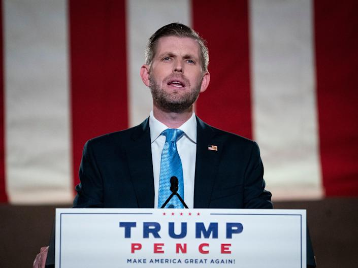 Eric Trump's attempt to brag about his father's acquittal was something of an own goal (Drew Angerer/Getty Images)