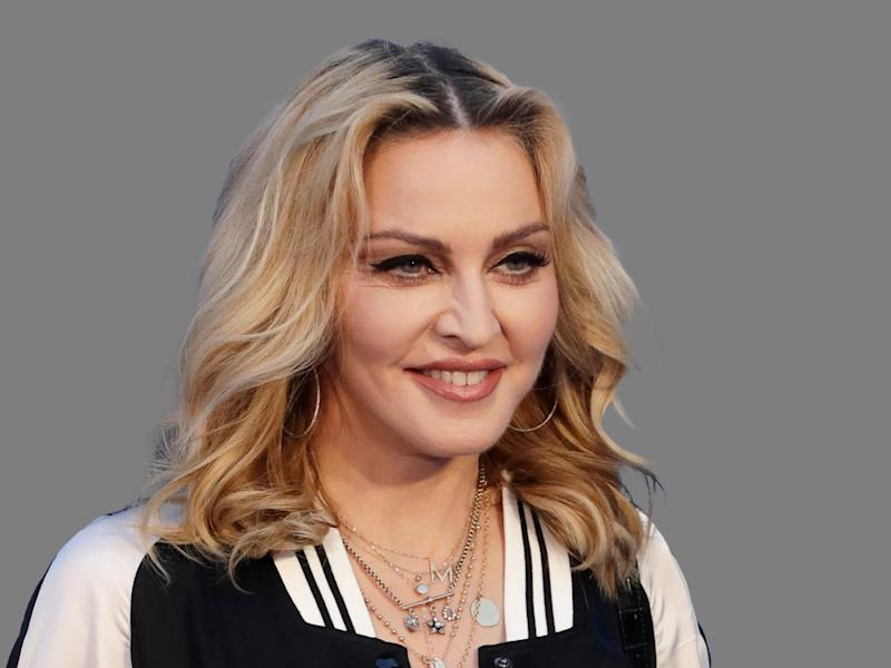 Madonna headshot, singer, graphic element on gray