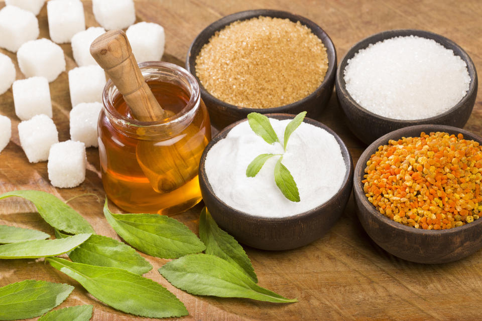 Variety of sweeteners - Stevia, sugar, pollen and honey