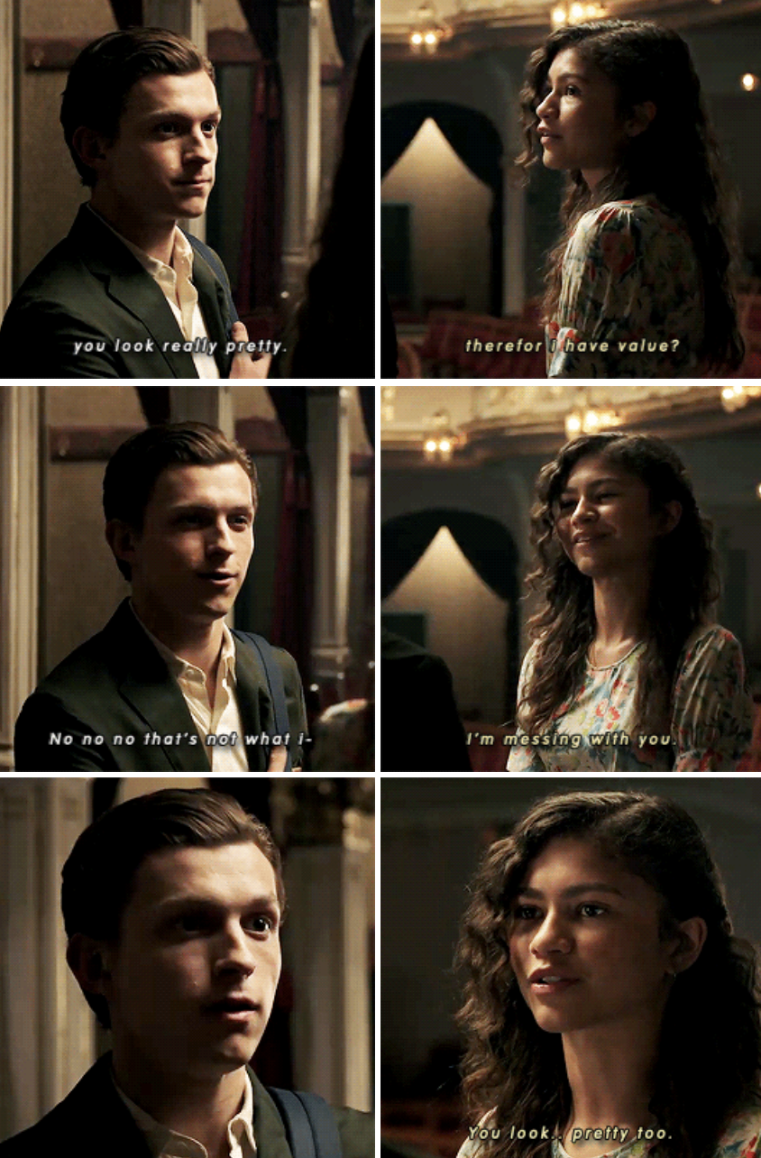 Peter telling MJ she looks pretty in the theatre, and MJ teasing him while responding in the same, loving way