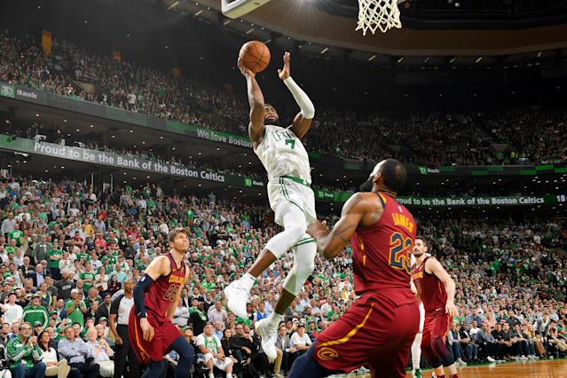 Jaylen Brown and the Celtics went up and over LeBron James and the Cavaliers again in Tuesday night's Game 2. (Getty)