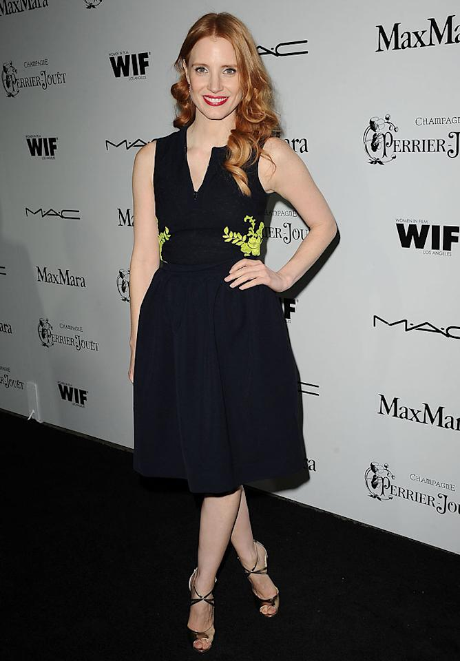 Jessica Chastain attends the 6th annual Women In Film pre-Oscar cocktail party at Fig & Olive Melrose Place on February 22, 2013 in West Hollywood, California.