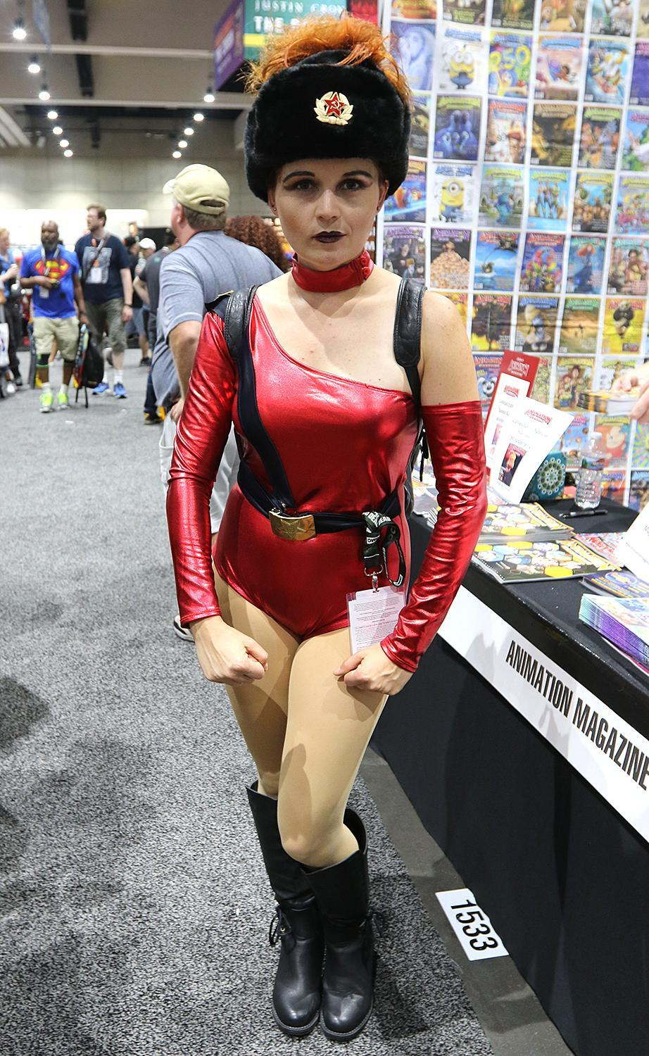 <p>Cosplayer dressed as Zoya the Destroya from <i>GLOW</i> at Comic-Con International on July 21, 2018, in San Diego. (Photo: Angela Kim/Yahoo Entertainment) </p>