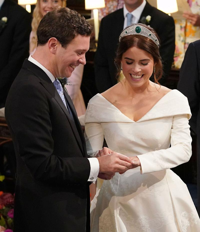 Princess Eugenie of York reacts during her wedding ceremony to Jack Brooksbank.
