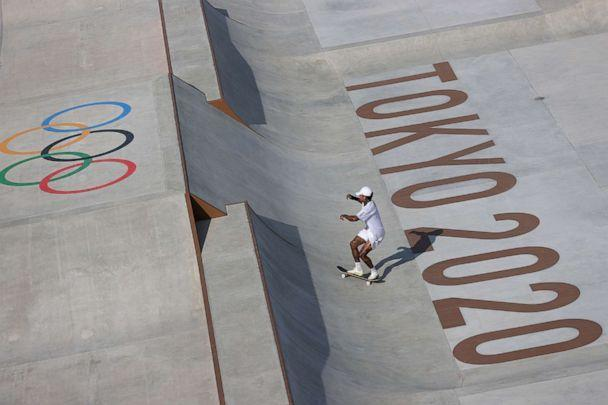 PHOTO: Nyjah Huston of the United States practices on the skateboard street course ahead of the 2020 Olympic Games on July 21, 2021, in Tokyo. (Patrick Smith/Getty Images)