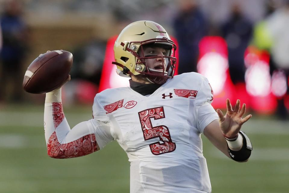 Boston College quarterback Phil Jurkovec passes during the first half of an NCAA college football game against Notre Dame, Saturday, Nov. 14, 2020, in Boston. (AP Photo/Michael Dwyer)