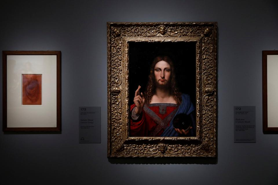 """""""Salvator Mundi"""" by School of Leonardo da Vinci is pictured during a press visit of the """"Leonardo da Vinci"""" exhibition to commemorate the 500-year anniversary of his death, at the Louvre Museum in Paris, France, October 20, 2019. REUTERS/Benoit Tessier (Photo: Benoit Tessier / Reuters)"""