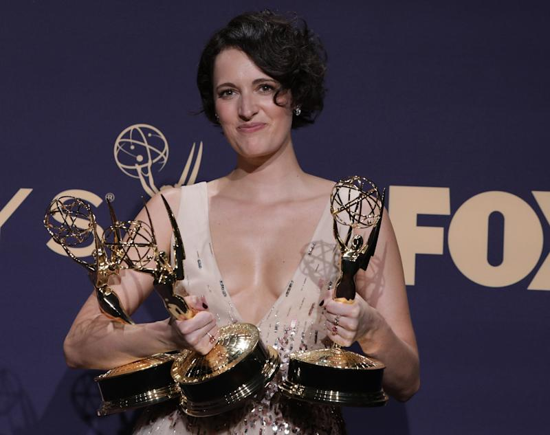 "71st Primetime Emmy Awards - Photo Room – Los Angeles, California, U.S., September 22, 2019 - Phoebe Waller-Bridge poses backstage with her Outstanding Leading Actress in a Comedy Series and Outstanding Writing for a Comedy Series awards for ""Fleabag"". REUTERS/Monica Almeida"
