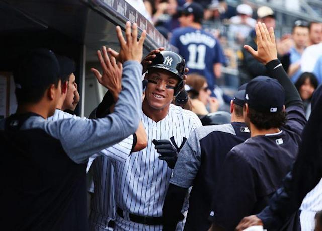 Aaron Judge celebrates after destroying yet another baseball. (Photo by Al Bello/Getty Images)