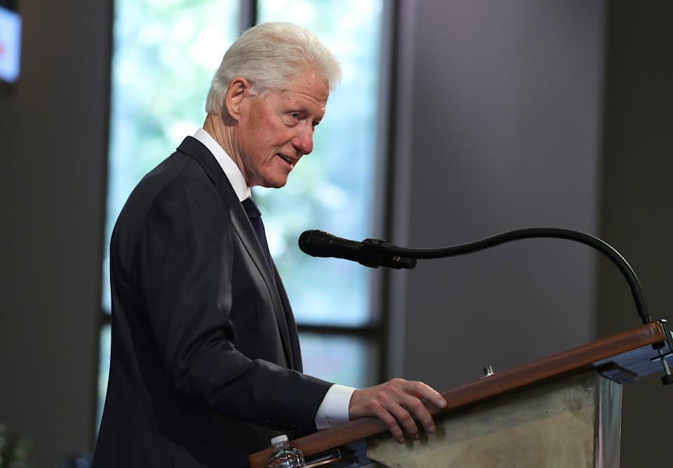 Former President Bill Clinton speaks during the funeral service for the late Rep. John Lewis, D-Ga., at Ebenezer Baptist Church in Atlanta, July 30, 2020.