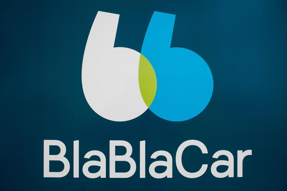 A picture taken on January 30, 2018 shows the new BlaBlaCar logo at the company's headquarters in Paris. - The carpool platform BlaBlaCar will multiply the travel options offered to its community of users with a new algorithm deployed gradually until next summer, learn the AFP during a press conference on January 30, 2018. (Photo by Philippe LOPEZ / AFP) (Photo by PHILIPPE LOPEZ/AFP via Getty Images)
