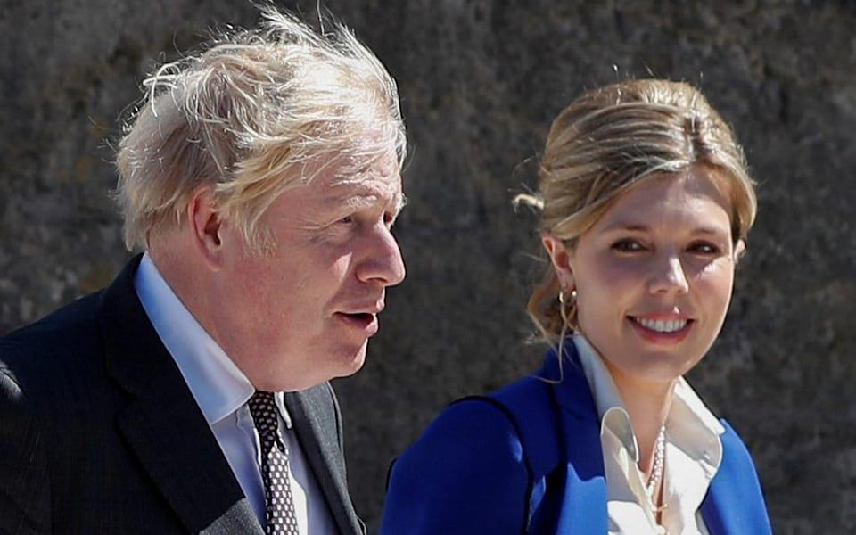 Boris and Carrie Johnson pictured at the G7 summit in Cornwall last month - Peter Nicholls/WPA Pool/Getty Images