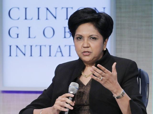 <p>No. 3: Indra Nooyi, Chairman and CEO, PepsiCo<br>The 61-year-old assumed the position in July 2017 after the company's profits jumped 16 per cent in 2016. <em>Fortune</em> reports Nooyi also pushed PepsiCo towards healthier products by acquiring kombucha maker KeVita and launching a premium water line. <br>Company Financials (2016, or most recently completed fiscal year)<br>Revenues ($M) 62799<br>Profits ($M) 6329<br>Market Value as of 9/14/17 ($M) 162779<br>(Canadian Press) </p>