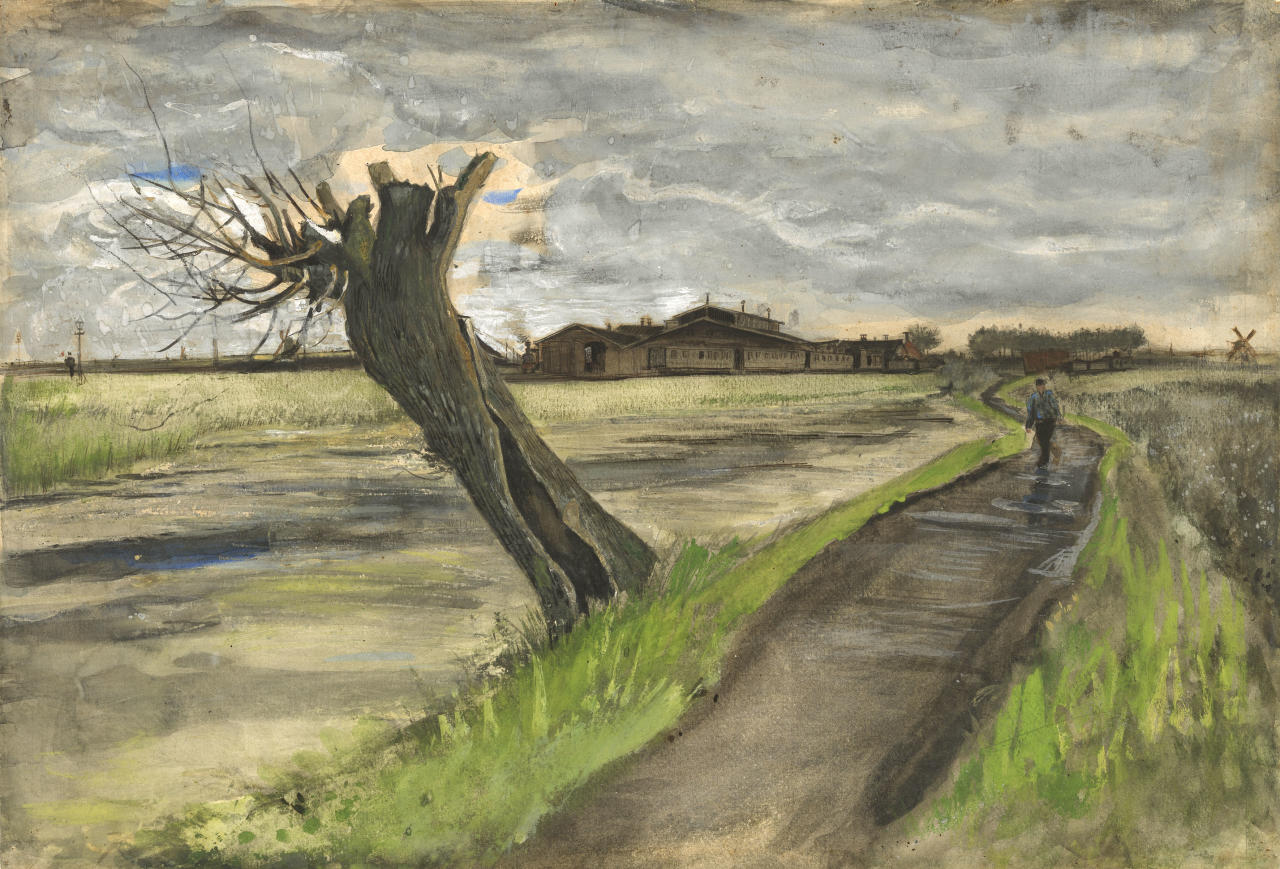 This photo released by the Van Gogh Museum in Amsterdam, Netherlands, on Thursday, May 10, 2012, shows an 1882 water color of a pollard willow by Vincent van Gogh from his early Dutch period. The Van Gogh Museum unveiled the painting Thursday, the first addition in five years to its world-famous collection of works by the post-impressionist. (AP Photo/Van Gogh Museum) EDITORIAL USE ONLY
