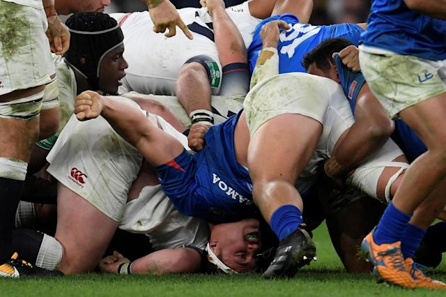 Rugby Union - Autumn Internationals - England vs Samoa - Twickenham Stadium, London, Britain - November 25, 2017 Samoa's Jordan Lay in action during the scrum REUTERS/Toby Melville TPX IMAGES OF THE DAY