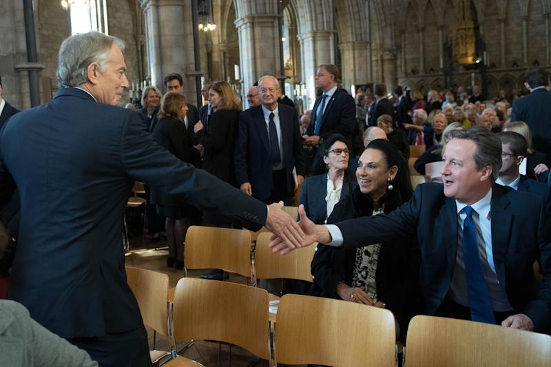 Former Prime Ministers Tony Blair and David Cameron at the memorial service at Southwark Cathedral, London for the former culture secretary, Baroness Tessa Jowell. (Photo by Stefan Rousseau/PA Images via Getty Images)