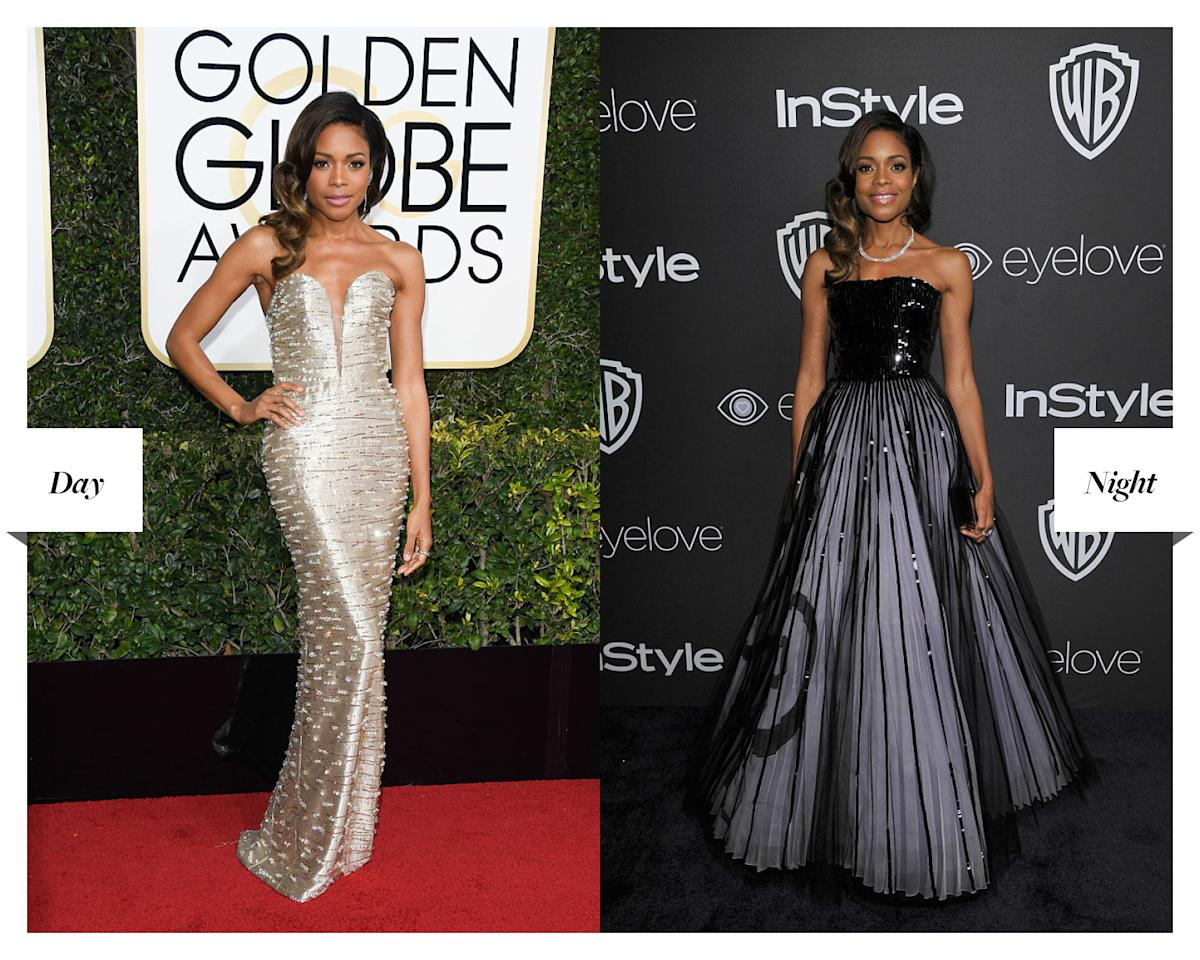 """<p>The """"Moonlight"""" actress went from strength to strength, wearing a plunging gold gown to the awards and switching to Armani Privé and an Edie Parker clutch at the afterparty. (Photos: Getty Images) </p>"""
