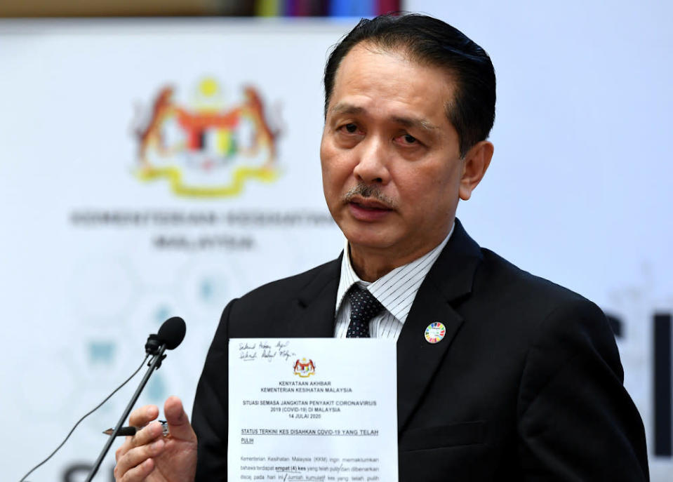 Health director-general Datuk Dr Noor Hisham Abdullah speaking at a daily press conference on the spread of the Covid-19 epidemic at the Ministry of Health in Putrajaya July 14, 2020. — Bernama pic