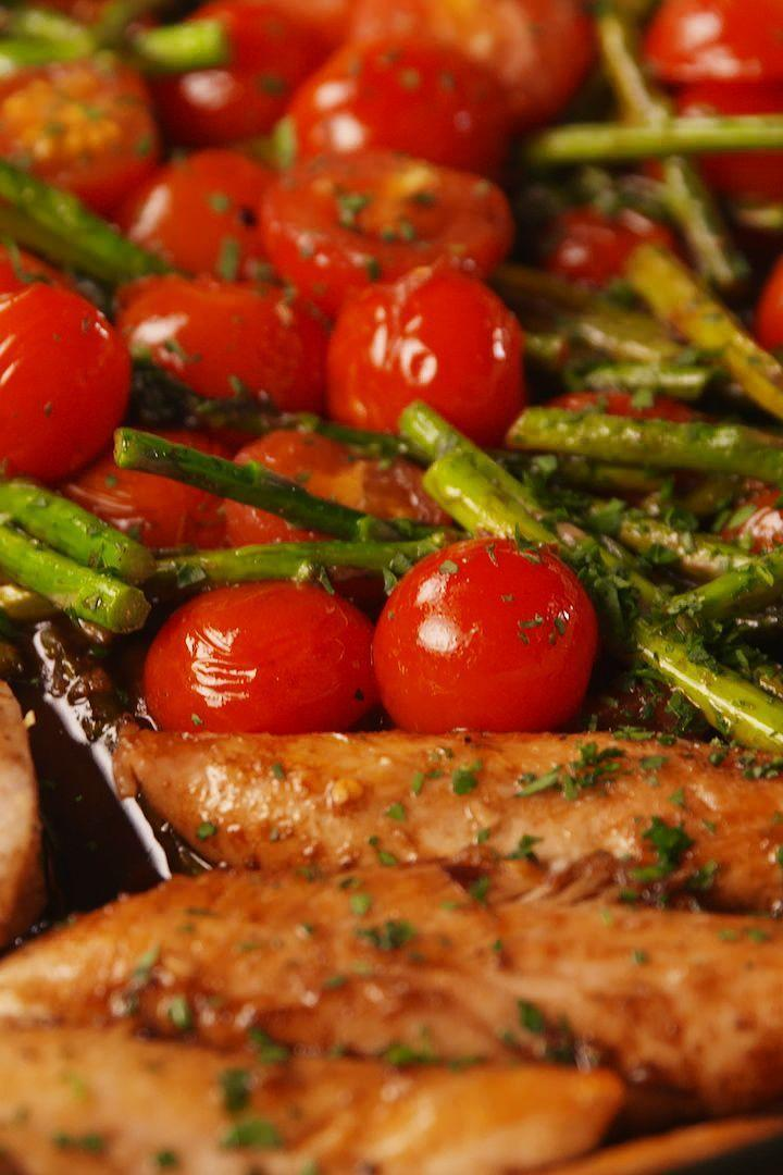 """<p>This one-pan meal is one of our most frequented weeknight dinners. What's not to love? It's healthy, easy, and it has the BEST SAUCE EVER. If you'd like to switch up the veg, green beans, peppers, snap peas, and mushrooms would all be great additions. Serve it on its own, or over brown rice or any other of your favourite grains. </p><p>Get the <a href=""""https://www.delish.com/uk/cooking/recipes/a29482782/one-pan-balsamic-chicken-and-asparagus-recipe/"""" rel=""""nofollow noopener"""" target=""""_blank"""" data-ylk=""""slk:One-Pan Balsamic Chicken and Asparagus"""" class=""""link rapid-noclick-resp"""">One-Pan Balsamic Chicken and Asparagus</a> recipe.</p>"""