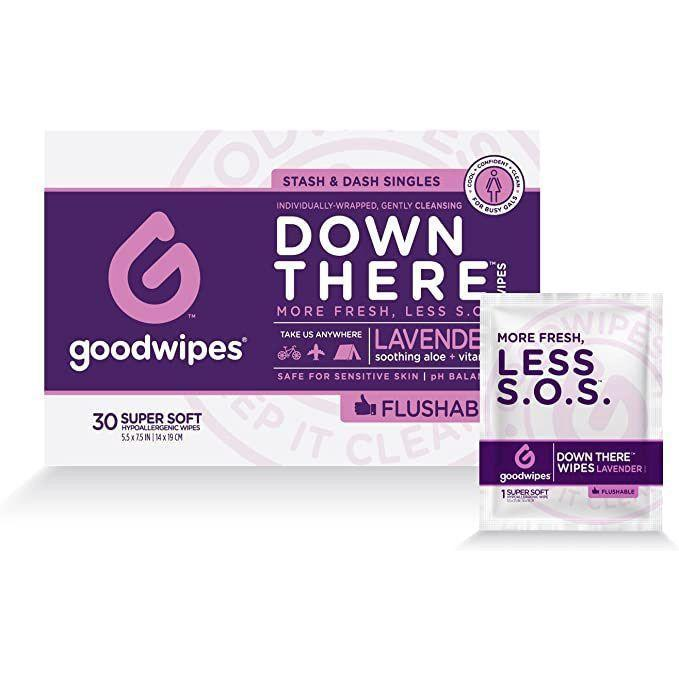 "<p><strong>goodwipes</strong></p><p>amazon.com</p><p><strong>$7.99</strong></p><p><a href=""https://www.amazon.com/dp/B00KV2NUO0?tag=syn-yahoo-20&ascsubtag=%5Bartid%7C10055.g.32754606%5Bsrc%7Cyahoo-us"" rel=""nofollow noopener"" target=""_blank"" data-ylk=""slk:Shop Now"" class=""link rapid-noclick-resp"">Shop Now</a></p><p>These wipes from Goodwipes are individually wrapped, so it's easy to always have some with you on the go. They can also be flushed down the toilet and are biodegradable for simple disposal. Reviewers like the slight lavender scent that's refreshing ""but not overpowering."" </p><p><strong>Count: </strong>30 wipes <strong><br></strong><strong>Price per wipe: </strong>~$0.27</p>"