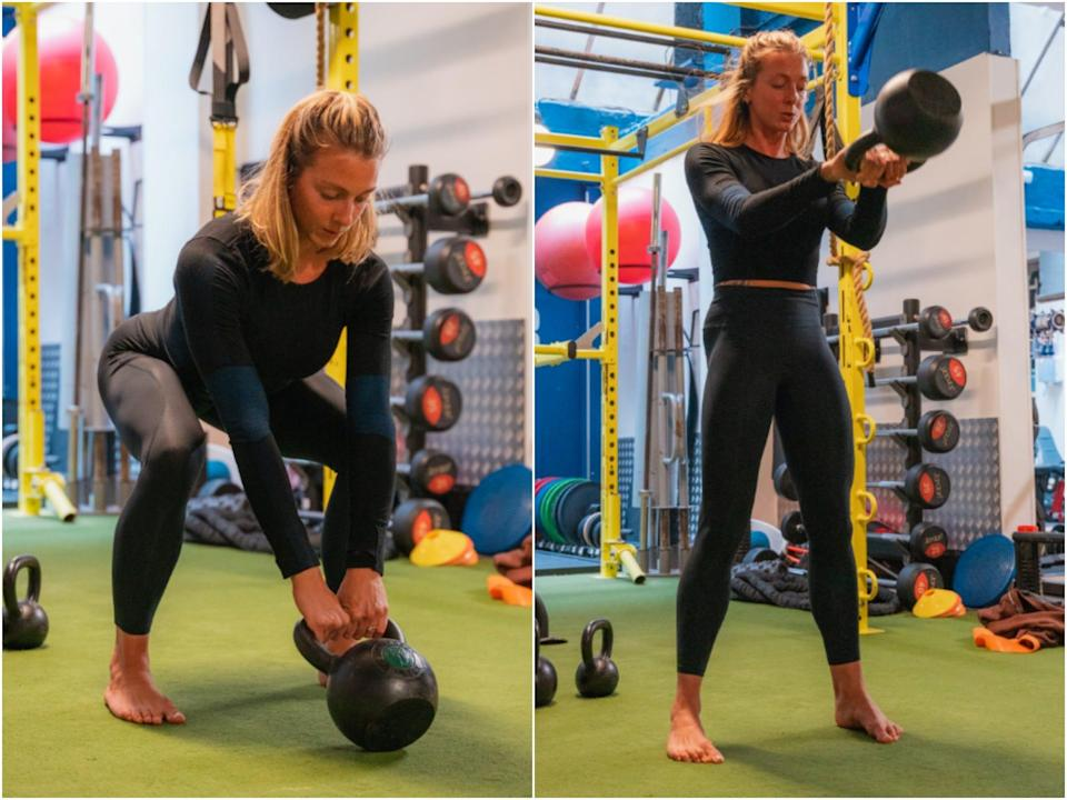 Steph Rose performing a kettlebell swing.