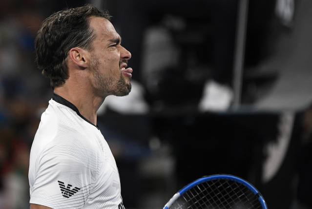 Italy's Fabio Fognini celebrates after defeating Guido Pella of Argentina in their third round singles match at the Australian Open tennis championship in Melbourne, Australia, Friday, Jan. 24, 2020. (AP Photo/Andy Brownbill)