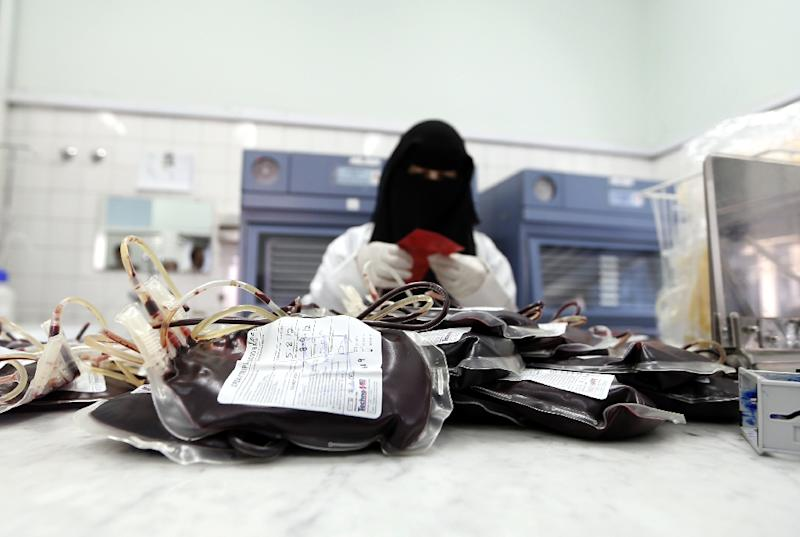 War, disease and famine have left the blood bank struggling to keep up with demand (AFP Photo/Mohammed HUWAIS)