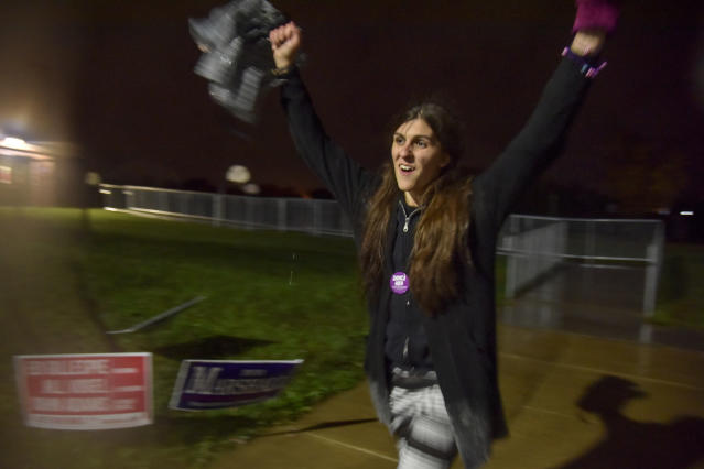 Danica Roem rejoices after polls closed in Gainesville, Va., on Tuesday. (Jahi Chikwendiu/Washington Post via Getty Images)