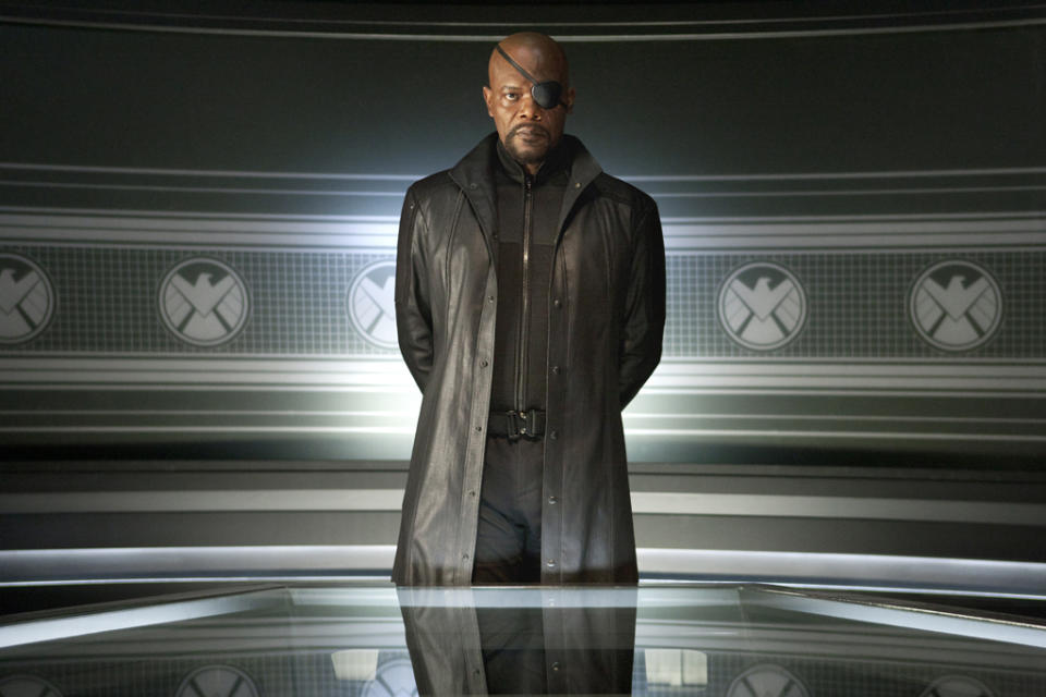 """Samuel L. Jackson as Nick Fury in Marvel's <a href=""""http://movies.yahoo.com/movie/the-avengers-2012/"""" data-ylk=""""slk:The Avengers"""" class=""""link rapid-noclick-resp"""">The Avengers</a> - 2012"""