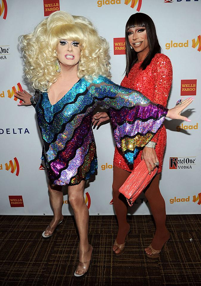 "<p class=""MsoNormal"">Drag queens Lady Bunny, who's also a singer, and Raven, of ""RuPaul's Drag Race,"" brought their colorful senses of style to the red carpet. Looks like the ladies were ready for some fun!</p>"