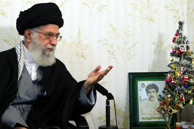 """Ali Khamenei says the United States is seeking to influence next month's elections in the Islamic republic but such efforts will receive a """"punch in the mouth"""""""