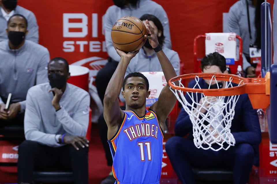 PHILADELPHIA, PENNSYLVANIA - APRIL 26: Theo Maledon #11 of the Oklahoma City Thunder shoots during the first quarter against the Philadelphia 76ers at Wells Fargo Center on April 26, 2021 in Philadelphia, Pennsylvania. NOTE TO USER: User expressly acknowledges and agrees that, by downloading and or using this photograph, User is consenting to the terms and conditions of the Getty Images License Agreement.