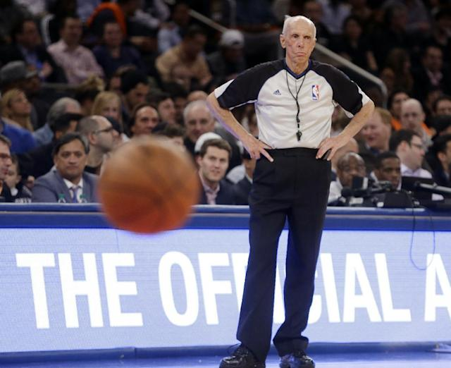 Referee Dick Bavetta (27) watches a free throw attempt during the second half of an NBA basketball game between the New York Knicks and the Brooklyn Nets Wednesday, April 2, 2014, in New York. Bavetta worked his 2,633rd consecutive game assignment Wednesday, an ironman streak even longer than the one baseball Hall of Famer Cal Ripken Jr. compiled. (AP Photo/Frank Franklin II)