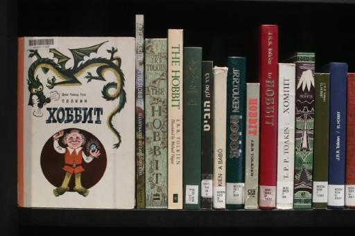 Various editions translated into different languages of J.R.R Tolkien's 'The Hobbit' are on display