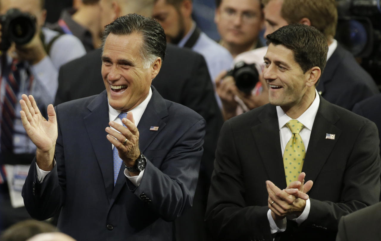 Republican presidential nominee Mitt Romney, left, and vice presidential nominee, Rep. Paul Ryan arrive for a sound check before the Republican National Convention in Tampa, Fla., on Thursday, Aug. 30, 2012. (AP Photo/Charlie Neibergall)