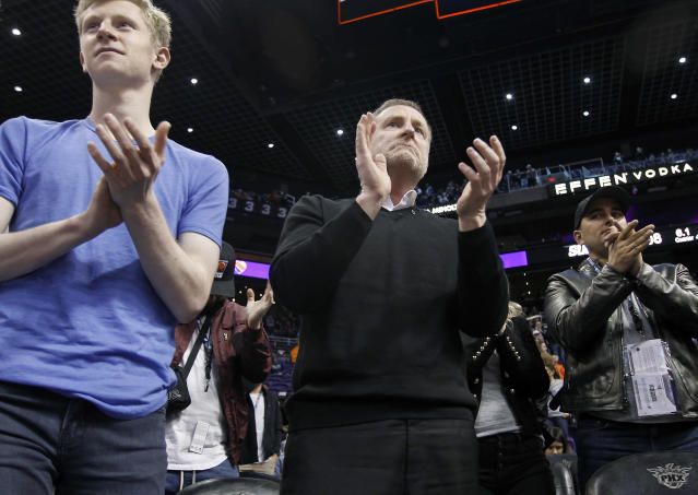 "The <a class=""link rapid-noclick-resp"" href=""/nba/teams/phoenix/"" data-ylk=""slk:Phoenix Suns"">Phoenix Suns</a> organization is reportedly ""in a spiral in almost every way,"" something that is turning heads throughout the entire NBA and the league office. (AP/Ralph Freso)"
