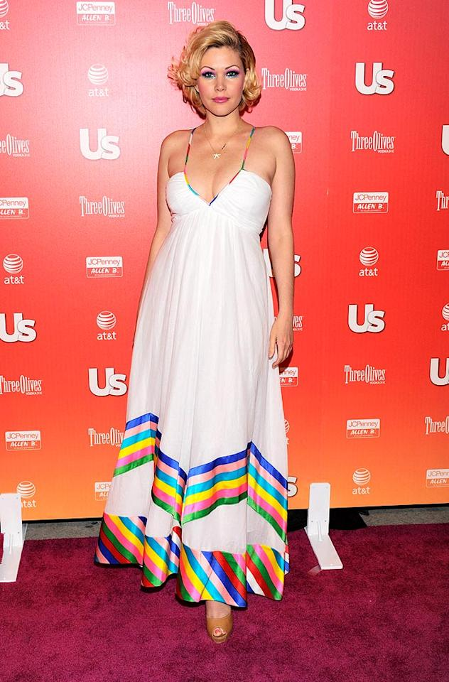 """Shanna Moakler showed her support for gay marriage by sporting a rainbow-striped dress. Todd Williamson/<a href=""""http://www.wireimage.com"""" target=""""new"""">WireImage.com</a> - April 22, 2009"""