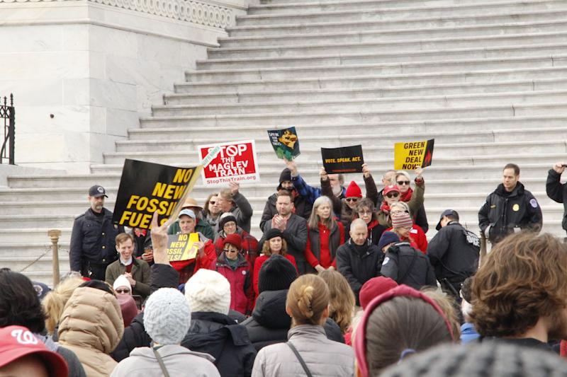 Protesters beginning to get arrested on the steps of the Capitol Building. (Photo: Photo Courtesy Of Sohil Malik)