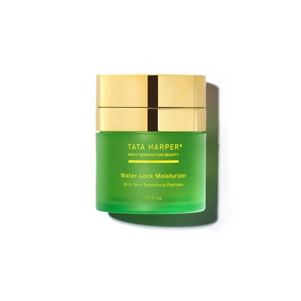 """<p>tataharperskincare.com</p><p><strong>$68.00</strong></p><p><a href=""""https://go.redirectingat.com?id=74968X1596630&url=https%3A%2F%2Fwww.tataharperskincare.com%2Fwater-lock-moisturizer%3FranMID%3D44316%26ranEAID%3DTnL5HPStwNw%26ranSiteID%3DTnL5HPStwNw-qkrrB_Qc5SXCOIwNluT26w&sref=https%3A%2F%2Fwww.townandcountrymag.com%2Fstyle%2Fbeauty-products%2Fg36041304%2Fbeauty-products-sustainable-reusable-packaging%2F"""" rel=""""nofollow noopener"""" target=""""_blank"""" data-ylk=""""slk:Shop Now"""" class=""""link rapid-noclick-resp"""">Shop Now</a></p><p>Tata Harper's Water-Lock moisturizer comes in reusable plastic packaging. Just pop in a new cartridge of the peptide- and hyaluronic acid-infused moisturizer and it's good to go. </p>"""
