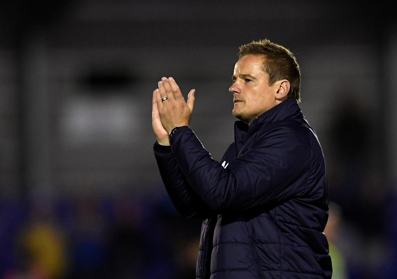 "Soccer Football - League One - AFC Wimbledon vs Milton Keynes Dons - Kingsmeadow, London, Britain - September 22, 2017  AFC Wimbledon manager Neal Ardley looks dejected after the match   Action Images/Tony O'Brien  EDITORIAL USE ONLY. No use with unauthorized audio, video, data, fixture lists, club/league logos or ""live"" services. Online in-match use limited to 75 images, no video emulation. No use in betting, games or single club/league/player publications. Please contact your account representative for further details."