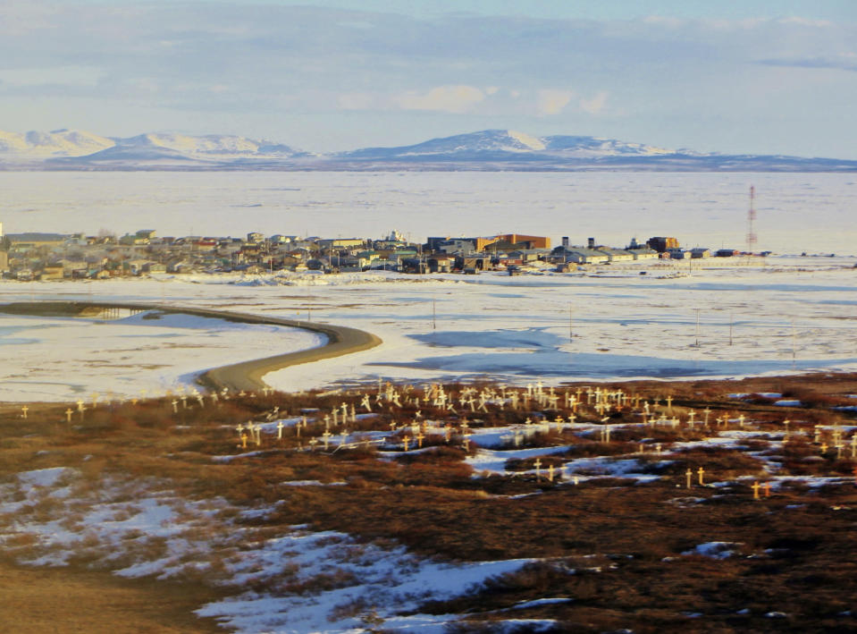 This April 26, 2014, aerial photo provided by Val Kreil shows Kotzebue, Alaska. The Maniilaq Health Association in the Chukchi Sea community of Kotzebue has received state approval to process and serve seal oil at its elder care facility in Kotzebue, believed to be a first for seal oil in the U.S. (Val Kreil via AP)