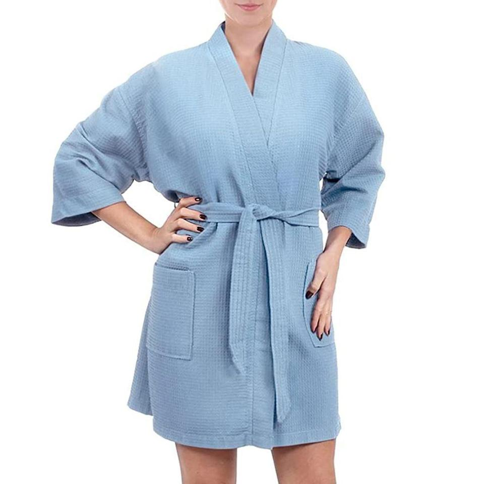 """<p><strong>Turkish Linen</strong></p><p>amazon.com</p><p><strong>$19.99</strong></p><p><a href=""""https://www.amazon.com/dp/B00SW5UH3A?tag=syn-yahoo-20&ascsubtag=%5Bartid%7C2089.g.37625671%5Bsrc%7Cyahoo-us"""" rel=""""nofollow noopener"""" target=""""_blank"""" data-ylk=""""slk:Shop Now"""" class=""""link rapid-noclick-resp"""">Shop Now</a></p><p>Give your stepmom the gift of a spa day every day with this <a href=""""https://www.bestproducts.com/lifestyle/g3180/terry-cloth-robes-for-men-women/"""" rel=""""nofollow noopener"""" target=""""_blank"""" data-ylk=""""slk:waffle-knit robe"""" class=""""link rapid-noclick-resp"""">waffle-knit robe</a>. Because of the weave, it's extra-absorbent and perfect for post-shower. If you really want to make it special, you can have it monogrammed or iron on a patch. </p>"""
