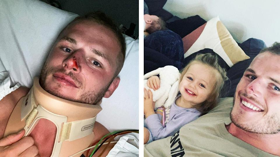 Tom Burgess (pictured right) with his family and (pictured left) in hospital.