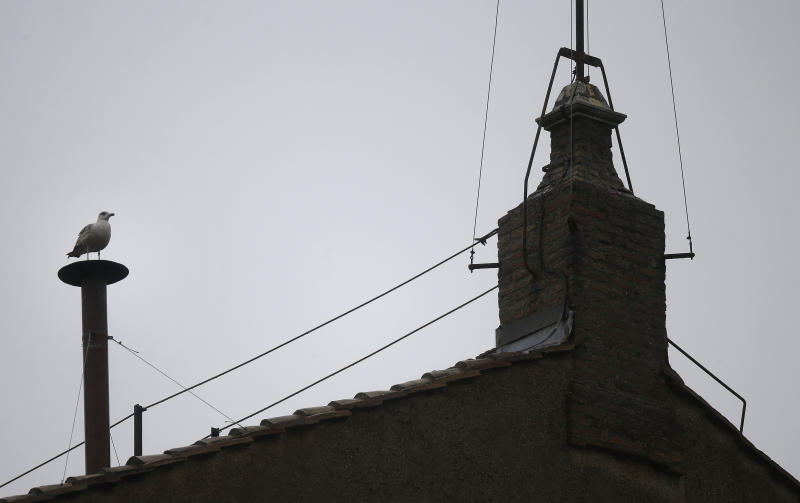 A seagull sits on the chimney on the roof of the Sistine Chapel, in St. Peter's Square during the second day of the conclave to elect a new pope at the Vatican, Wednesday, March 13, 2013. (AP Photo/Gregorio Borgia)