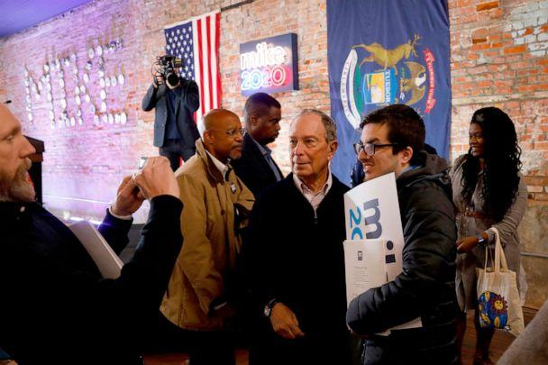 PHOTO: 2020 Democratic presidential hopeful and former New York Mayor Michael Bloomberg talks to supporters during an event to open a campaign office at Eastern Market in Detroit, Michigan, Dec. 21, 2019. (Jeff Kowalsky/AFP via Getty Images)